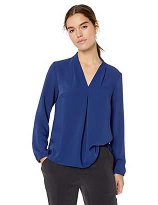 ab2d84b63d1 Nine West Women s Plus Size Ruffle Long Sleeve Detail Jewel Neck Crepe  Blouse