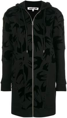 McQ swallow print zip-front hoodie