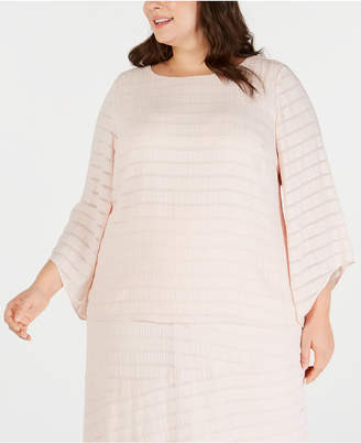 Alfani Plus Size Textured Tuck-Sleeve Top