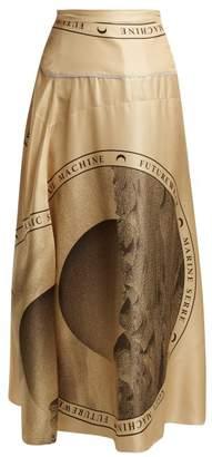 Marine Serre - Moon Print Silk Midi Skirt - Womens - Brown Multi