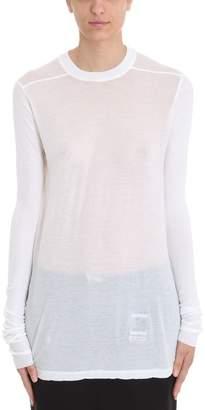 Drkshdw White Ls Crew Neck T-shirt
