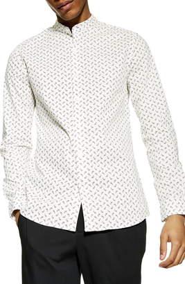 Topman Slim Fit Paisley Band Collar Shirt
