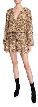Ramy Brook Jeannie Leopard-Print Silk Flounce Dress