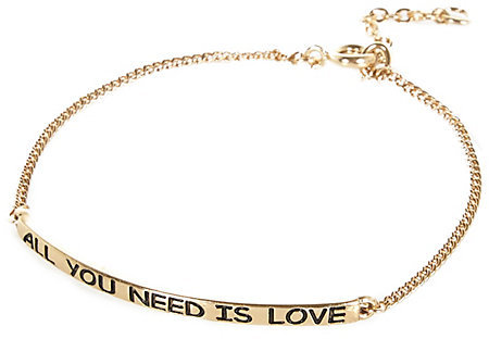 River Island Womens Gold tone all you need is love bracelet