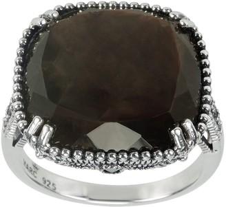 Suspicion Sterling Cushion Brown Sapphire & Marcasite Ring
