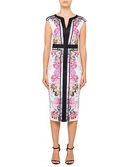 Ted Baker Shawnie Painted Posie Fitted Midi Dress