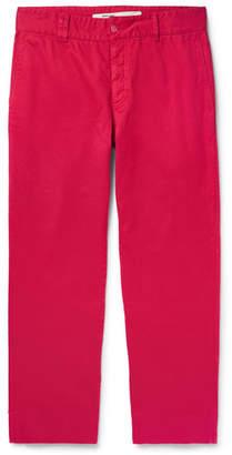 Off-White Off White Wide-Leg Stretch-Cotton Twill Trousers - Men - Fuchsia
