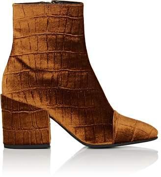 Dries Van Noten Women's Cap-Toe Stamped Velvet Ankle Boots
