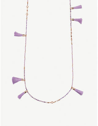 Kendra Scott Augusta 14ct rose gold-plated and lilac mother-of-pearl tassel necklace