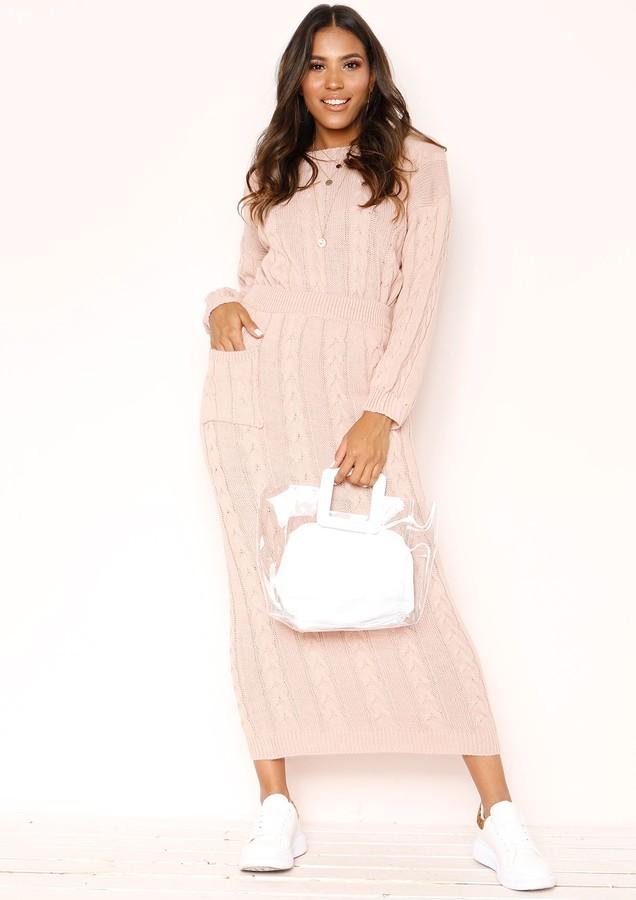 Missyempire Noara Pink Knit Midi Co-ord Set