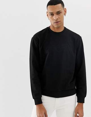 Emporio Armani embossed logo crew neck sweat in black
