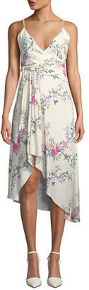 Equipment Estille V-Neck Sleeveless Floral-Print Wrap-Style Dress