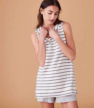 Lou & Grey Signaturesoft Striped Sleeveless Cowl Top