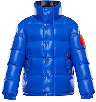 Moncler Dervaux Stand-Collar Quilted Jacket w/ Contrast Logo, Size 8-14