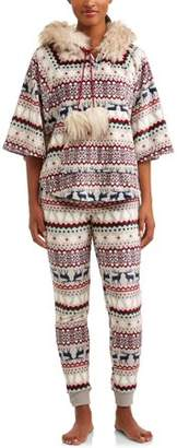 Secret Treasures Jammers Women's Farisle Faux Fur Trimmed Hooded Pajama Set
