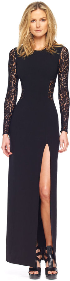 Michael Kors Lace Inset Side-Slit Gown