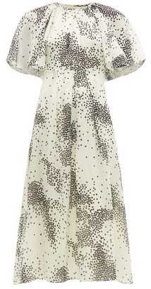Giambattista Valli Square Print Silk Chiffon Midi Dress - Womens - Ivory Multi