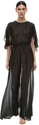L'Autre Chose Embellished Long Sheer Silk Dress