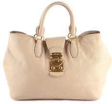 Miu MiuMiu Miu Beige Pebbled Leather Gold Tone Tote Handbag BP4611 MHL