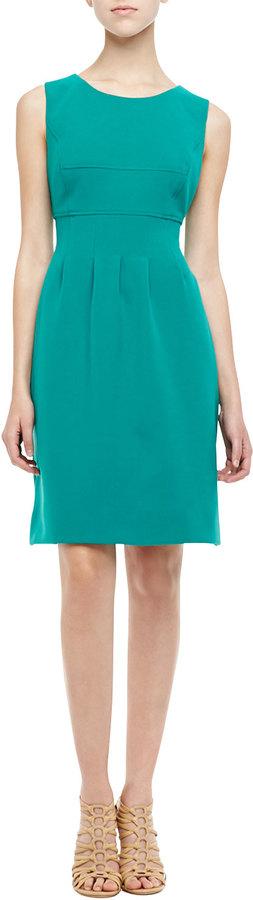 Lela Rose Sleeveless Classic Sheath Dress, Jade