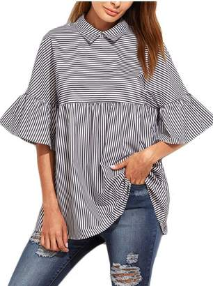 5dcb1b8bc5b065 Yacun Women's Summer Bell Sleeve T-Shirt Stripes Collared Blouse Casual Tops