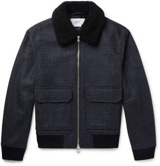 Mr P. Shearling-Trimmed Checked Wool-Blend Aviator Jacket