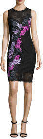 Sleeveless Floral Lace Cocktail Dress Black