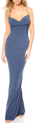 Katie May Surreal Cowl-Neck Sleeveless Bodycon Dress w/ Lace-Back Inset