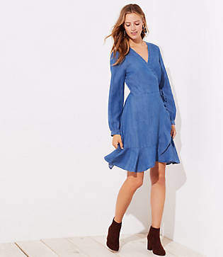 LOFT Petite Chambray Ruffle Wrap Dress