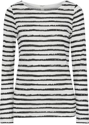 Majestic Filatures Striped Cotton And Cashmere-blend Top