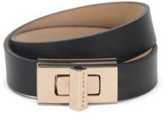 Hugo Boss BOSS Bespoke Brac-N Leather Turnlock Wrap Bracelet M Black $205 thestylecure.com