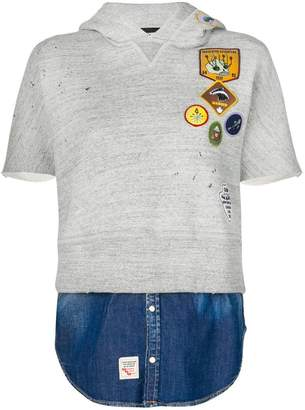 DSQUARED2 patch short sleeve hoodie with faux denim layer