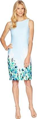 Calvin Klein Women's Patterned Sleeveless Round Neck Sheath Dress