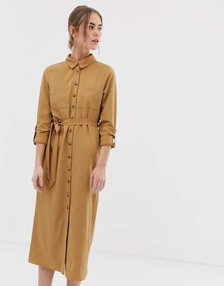New Look button through tie waist dress in camel