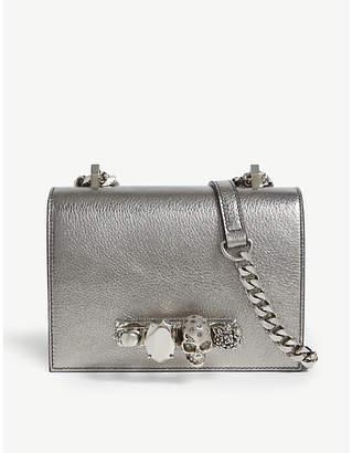 Alexander McQueen Small metallic jewelled leather satchel