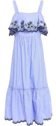 Kate Spade Layered Embroidered Cotton-poplin Midi Dress