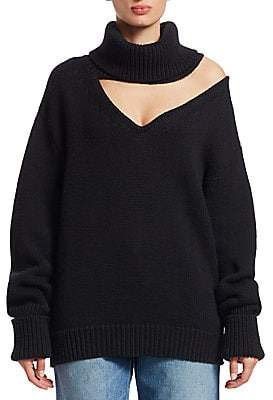 Monse Women's Wool Drop Shoulder V-Neck Turtleneck Sweater