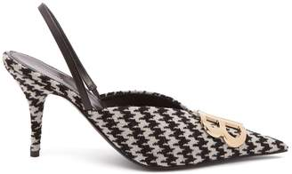 Balenciaga BB Knife houndstooth slingback pumps