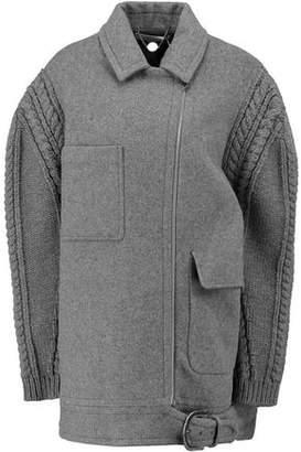 Stella McCartney Felicity Cable Knit-Paneled Wool-Blend Coat