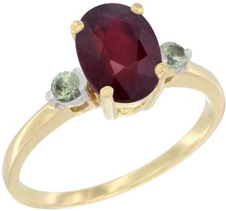 Gabriella Gold 10K Yellow Gold Natural HQ Ruby Ring Oval 9x7 mm Green Sapphire Accent, size 10