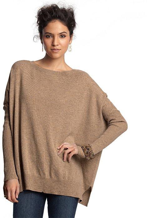 CeCe sable cashmere ballet neck blanket sweater