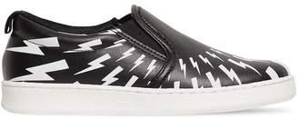 Neil Barrett Bolts Print Leather Slip-On Sneakers