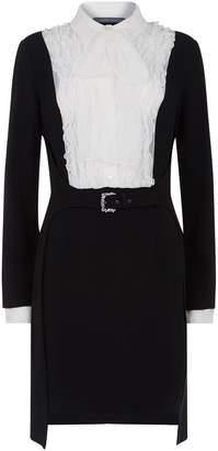 Alberta Ferretti Bow Front Ruffle Dress