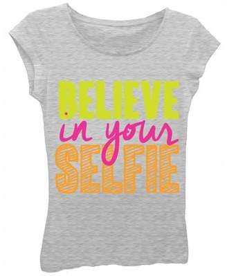 """Freeze Girls' """"Believe In Your Selfie"""" Short Sleeve Graphic T-shirt With Coral and Silver Glitter"""