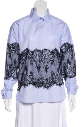 Each X Other Lace-Trimmed Button-Up Top