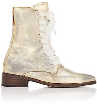 Esquivel Women's London Distressed Leather Lace-Up Boots - Gold