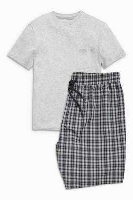 Next Mens Grey Check Woven Short Set