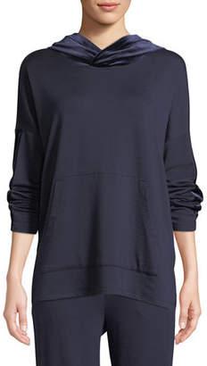 Eileen Fisher Velvet-Trim Hooded Terry Pullover Sweatshirt, Petite