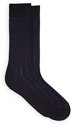 Barneys New York Men's Drop-Stitch-Striped Stretch-Wool Mid-Calf Socks - Navy