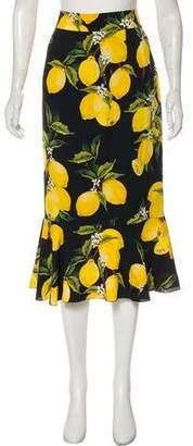 Dolce & Gabbana 2016 Lemon Silk Skirt